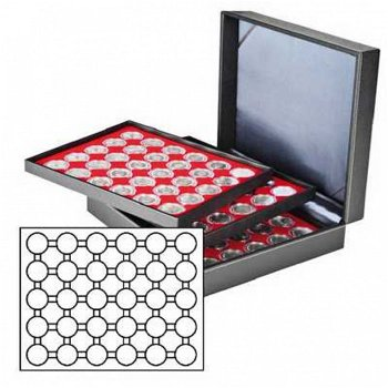 Münzkassette NERA XL mit 3 Tableaus, rote Münzeinlagen f. 90 Münzkapseln mit Außen-Ø 37 mm,