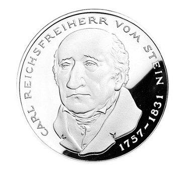 """5-DM-Münze """"150. Todestag Reichsfreiherr von und zum Stein"""", Polierte Platte"""