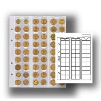 Multi collect-Münzblätter für 54 Münzen, mit schwarzem Zwischenblatt, 5er-Pack, Lindner MU54