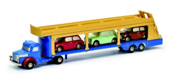Modell-LKW:Krupp Autotransporter mit 3 x Mini Cooper(Schuco/Piccolo, 1:90)