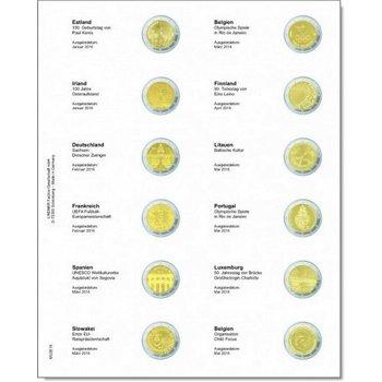 Lindner Vordruckblatt für 2 Euro-Gedenkmünzen: Estland Januar 2016 - Belgien Mai 2016, LI MU2E16