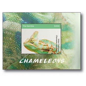 Reptilien: Chamäleon - Briefmarkenblock postfrisch, Gambia