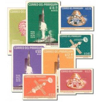 Amerikanische Raumfahrt - 8 Briefmarken postfrisch ungezähnt, Katalog-Nr. 1319-26, Paraguay