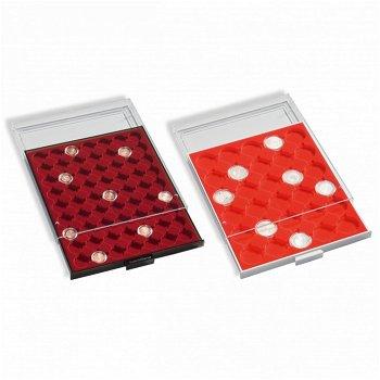 Münzbox MB für 2-Euro-Münzen, 35 Fächer für CAPS 26, grau, erweiterbar, Einlage rot, Leuchtturm 3047