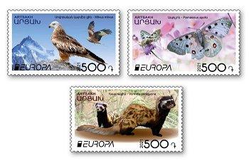 Europa 2021: Gefährdete nationale Tierwelt - 3 Briefmarken postfrisch, Berg-Karabach