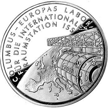 Columbus-Labor für die Raumstation ISS, 10-Euro-Silbermünze 2004, Polierte Platte