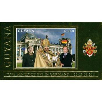 Papst Benedikt XVI. besucht Deutschland - Briefmarken-Block mit goldenem Blockrand, Guyana