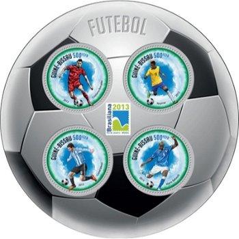Fußball - Briefmarkenblock rund, postfrisch, Guinea-Bissau