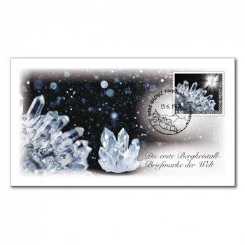 Edelsteine der Philatelie: BERGKRISTALL-Briefmarke auf Ersttagsbrief, Liechtenstein