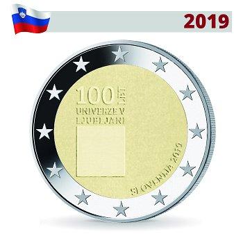 100. Jahrestag Gründung der Universität Ljubljana, 2 Euro Münze 2019, Slowenien