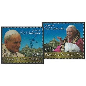 Papst Benedikt XVI. und Papst Johannes Paul II. - 2 Briefmarken postfrisch, Salvador