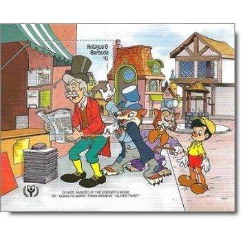 Comic: Oliver Twist und die Taschendiebe / Pinocchio - Briefmarken-Block Nr. 186 postfrisch, Antigua