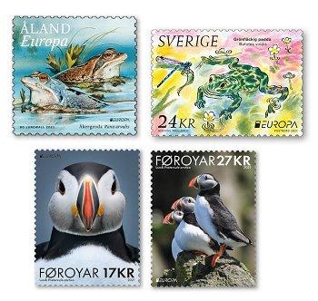 Europa 2021: Gefährdete nationale Tierwelt - 4 Briefmarken postfrisch, Färöer, Schweden und Aland