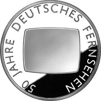 50 Jahre Deutsches Fernsehen, 10-Euro-Silbermünze 2002, Polierte Platte