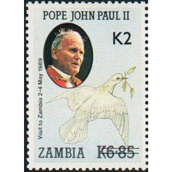 Papst Johannes Paul II. - Briefmarke mit lokalem Aufdruck, Katalog-Nr. 579, Sambia