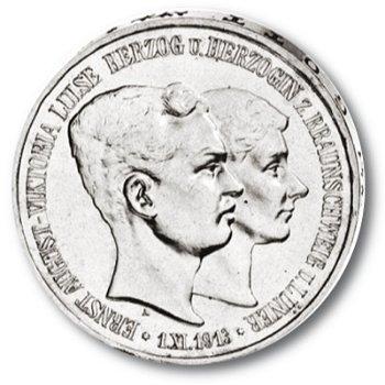3 Mark Silbermünze, Herzog Ernst August/Viktoria Luise, Katalog-Nr. 57, Herzogtum Braunschweig-Lüneb
