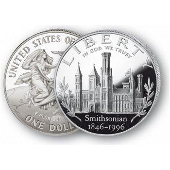 150 Jahre Institut Smithsonian - Silberdollar 1996, 1 Dollar Silbermünze, USA