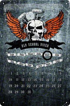 Blechschild:- Old School Biker Skull -Kalender(Nostalgic Art, 20 x 30 cm)