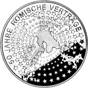 50 Jahre Römische Verträge, 10-Euro-Silbermünze 2007, Stempelglanz