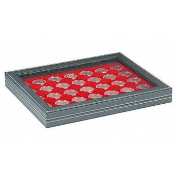 Nera Münzkassette M mit Sichtfenster für 2 Euro Münzen gekapselt, Münzeinlage rot, Lindner 2367-2530
