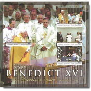 Besuch von Papst Benedikt XVI. in Barcelona - Briefmarken-Block postfrisch, Grenada Carriacou &