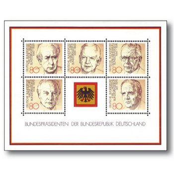 Bundespräsidenten, Block 18 postfrisch, Katalog-Nr. 1156-60, Bundesrepublik