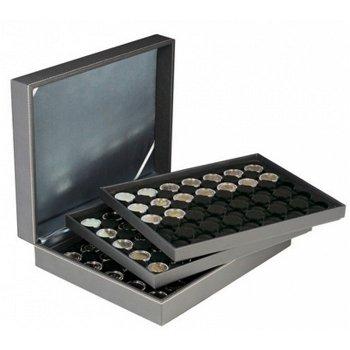 Nera Münzkassette XL mit 3 Tableaus für 2 Euro Münzen gekapselt, Münzeinlage schwarz, Lindner 2365-2