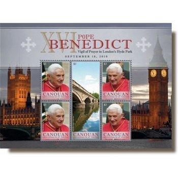 Papst Benedikt XVI. in Großbritannien - Briefmarken-Block postfrisch, St. Vincent & Grenadinen