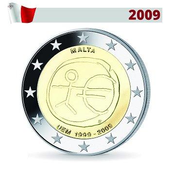 2 Euro Münze 2009, Wirtschafts- und Währungsunion, Malta