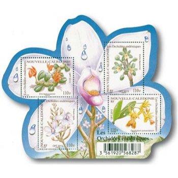 Orchideen - Briefmarken-Block postfrisch, Neukaledonien