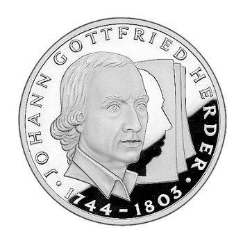 """10-DM-Silbermünze """"250. Geburtstag Johann Gottfried Herder"""", Polierte Platte"""