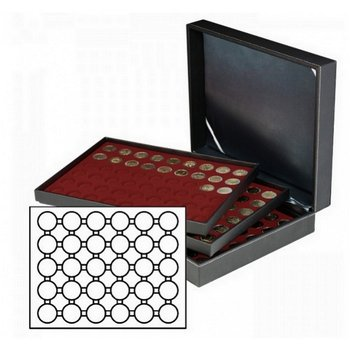 Münzkassette NERA XL mit 3 Tableaus, dunkelrote Münzeinlagen für 90 Münzkapseln Außen-Ø 39,5 mm, für