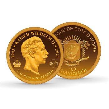 80. Todestag Kaiser Wilhelm II. - 100 Francs Goldmünz 2020, Elfenbeinküste