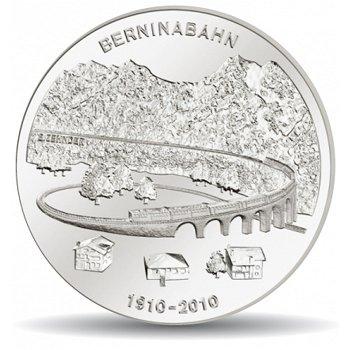 100 Jahre Berninabahn, 20 Franken Münze 2010 Schweiz, Stempelglanz