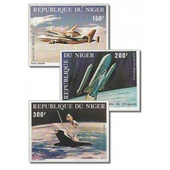 Space Shuttle - 3 Briefmarken ungezähnt postfrisch, Katalog-Nr. 742-745, Niger