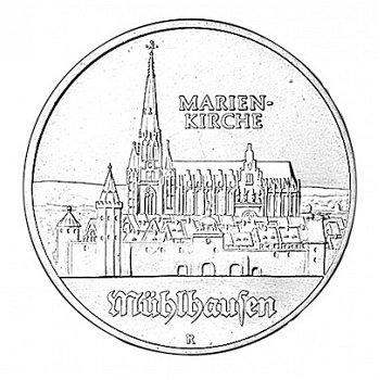 5-Mark-Münze 1989, Marienkirche in Mühlhausen, DDR