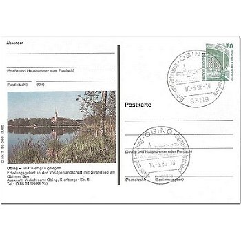 8201 Obing - picture postcard & quot; lake with church & quot;