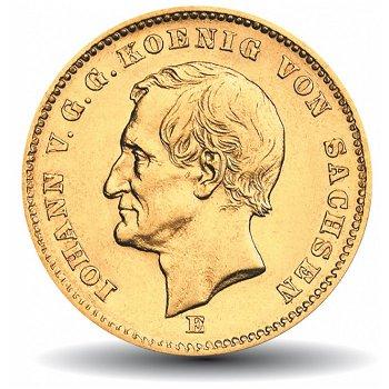 20 Mark Goldmünze König Johann, Katalog-Nr. 258, Königreich Sachsen