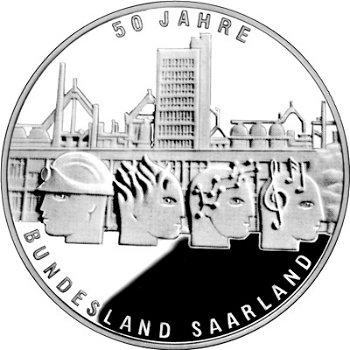 50 Jahre Bundesland Saarland, 10-Euro-Silbermünze 2007, Polierte Platte