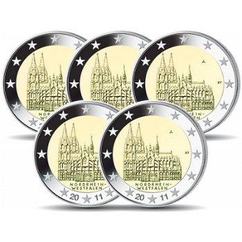 2 Euro Münze 2011, Kölner Dom / Nordrhein-Westfalen, Deutschland, 5 Prägezeichen