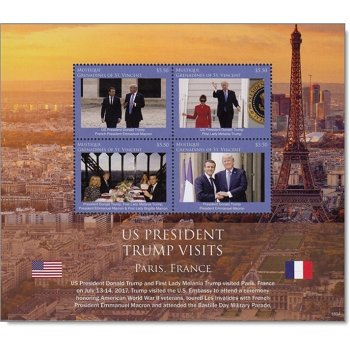 Donald Trump: Besuch in Frankreich - Block postfrisch, St. Vincent und Grenadinen