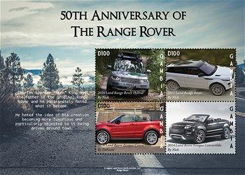 50. Geburtstag Range Rover - Briefmarkenblock postfrisch, Gambia