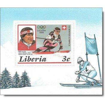 Olympische Winterspiele 1988 - 5 Luxusblocks gezähnt postfrisch, Katalog-Nr. 1355-1359, Liberia