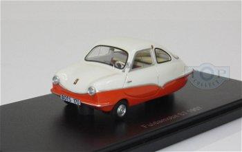 Modellauto:Fuldamobil S7 von 1957, weiß-orange(BoS, 1:43)