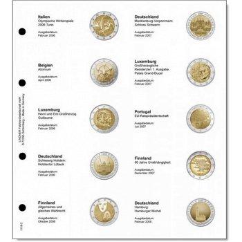 Lindner Vordruckblatt inkl. Münzblatt für 2 Euro-Gedenkmünzen chronologisch: Italien 2006 - Deutschl