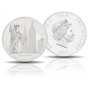 Weltstadt New York, 2 Dollar Silbermünze 2017 polierte Platte, Niue