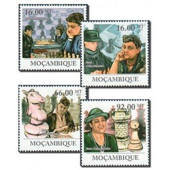 50. Jahre Schachspielerin Maia Tschiburdanidze - 4 Briefmarken postfrisch, Mocambique
