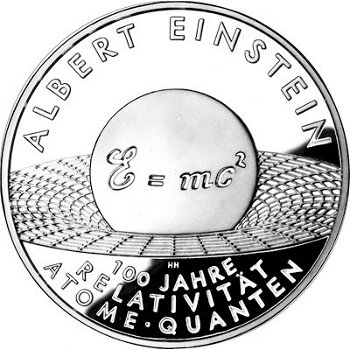 Albert Einstein - 100 years of the theory of relativity, 10 euro silver coin 2005, brilliant as uncirculated