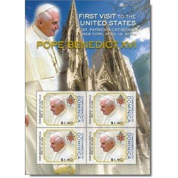 Papst Benedikt XVI. - Briefmarken-Block postfrisch, Dominica