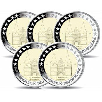 2 Euro Münze 2006, Holstentor Lübeck für Schleswig-Holstein, Deutschland, 5 Prägezeichen
